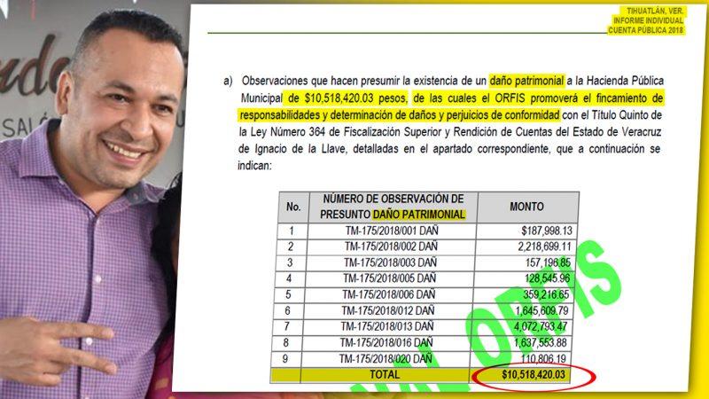 Alcalde de Tihuatlán supera los 10.5 MDP de presunto daño patrimonial