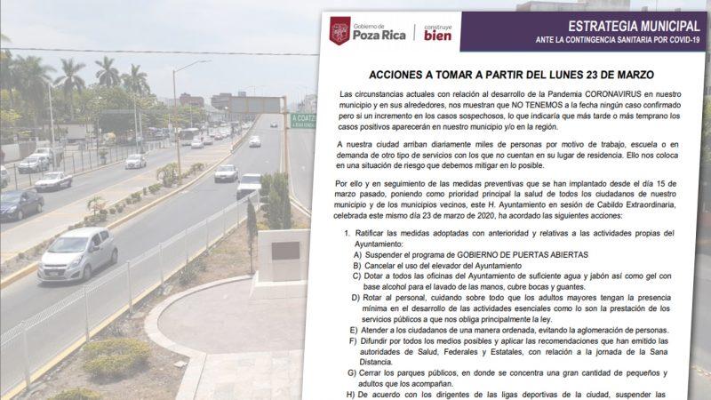Extreman medidas en Poza Rica ante Covid-10